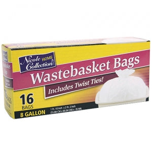 Trash Bags - 8 Gallon Waste Basket Bags with Ties 16 Count (Case Qty: 768)