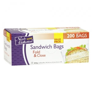 Sandwich - Fold & Close Bags - 200 Count (Case Qty: 9600)