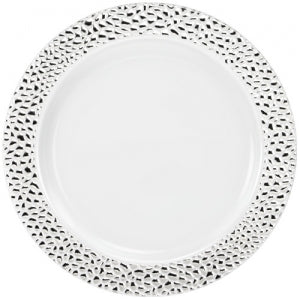 "Pebbled - Silver - 10.25"" Plate (Case Qty: 120)"