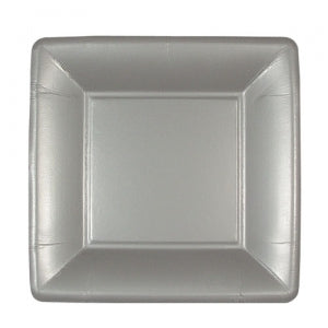 "Solid Silver 7"" Square Dinner Paper Plates (Case Qty: 576)"