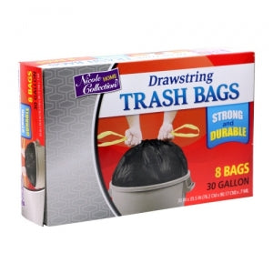 Trash Bags - 30 Gallon - Drawstring - Trash Bag - Black (Case Qty: 192)