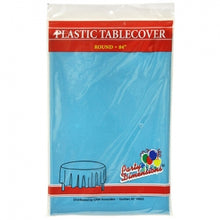 "84"" Island Blue Round Plastic Tablecover 36 Count (Case Qty: 36)"