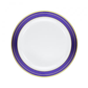 "Magnificence - 6.25"" Plastic Plates - Blue/Gold - 10 ct. (Case Qty: 120)"