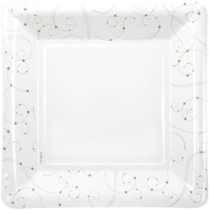 "9.25"" Swirls & Pearls Square Paper Plate 12 Count (Case Qty: 288)"
