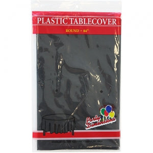 "84"" Black Round Plastic Tablecover 36 Count (Case Qty: 36)"