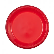 "9"" Red Plastic Plate - 50 Count (Case Qty: 600)"