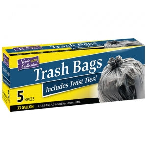 Trash Bags - 33 Gallon Trash Bags with Ties 5 Count (Case Qty: 240)