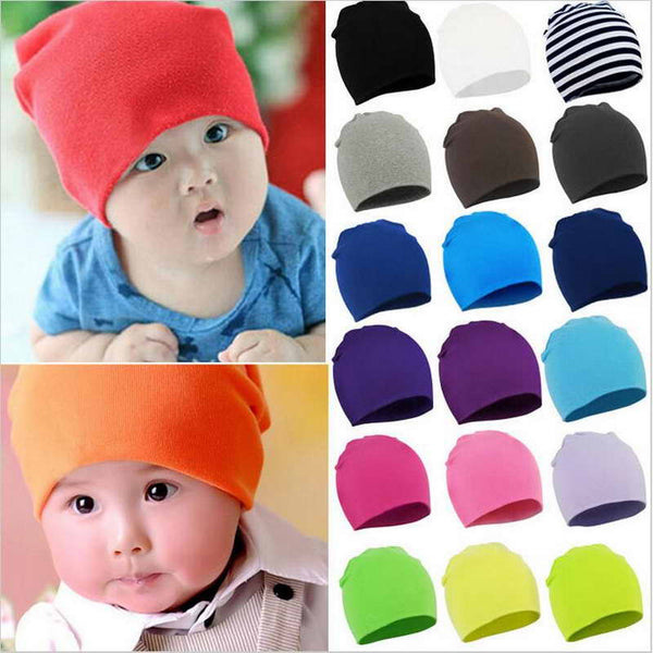 0-1 Years Old Cartoon Solid Color Baby Monochrome Double Hat Children's Hat Baby Hat Head Cap Children Warm Knit