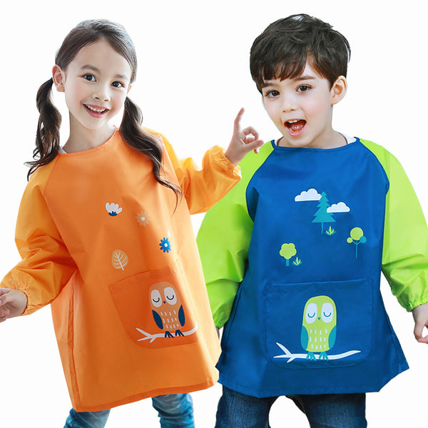 0-11 years Waterproof Baby Girl Boy Long Sleeve Cartoon Bibs Toddler Infant Burp Cloth Feeding