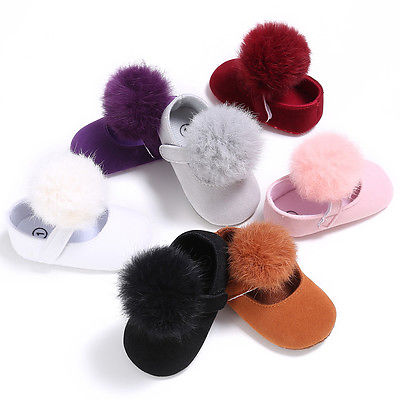 0-18M Toddler Baby Girl Soft Plush Princess Shoes cute pom shoes Infant Prewalker New Born Baby