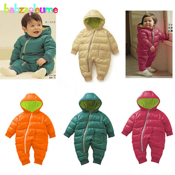 0-18Months/Winter Newborn Rompers Unisex Snowsuit Baby Girls Boys Clothing Hooded Warm Thick Infant