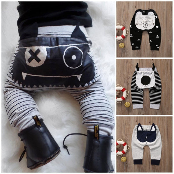 0-2 Year Toddler Baby Harem Pants Cute Cartoon Pants Casual Cotton Trousers Boys Girls Bottoms