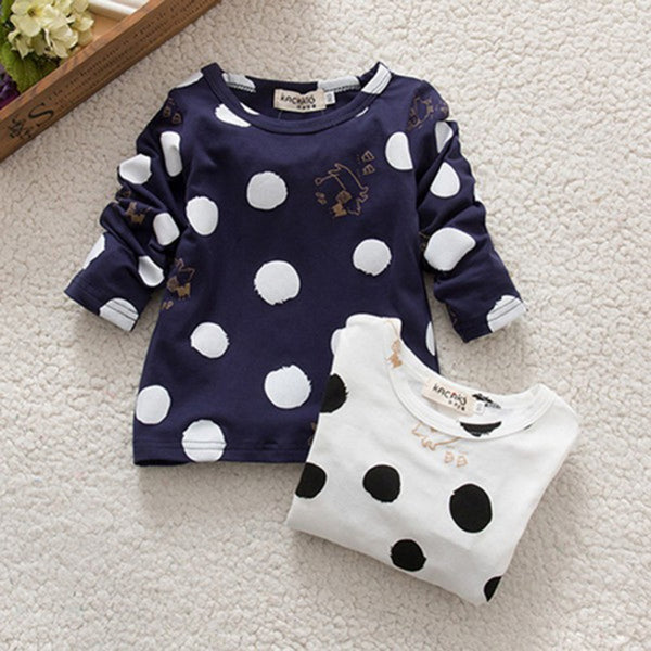 0-2 Years Kids Baby Girls Boys Unisex Polka Dots Long Sleeve Blouse Tops T-Shirt Cotton Basic