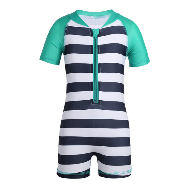 0-24 Months Infant Unisex Baby Short Sleeve One-piece Zippered Striped Swimsuit Boys Girls