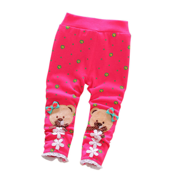 0-24M Fashion Winter Fall Cute Baby Warm Pants fleece Bear Patchwork Floral Infant Knit Thick Skinny Trousers baby leggings Y2