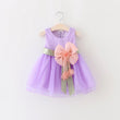 0-24M Flower Baby Girl Dress New Born Infantil Summer Dress Bow Sleeveless Cotton Christening Dress 1 Year Birthday Dress D35