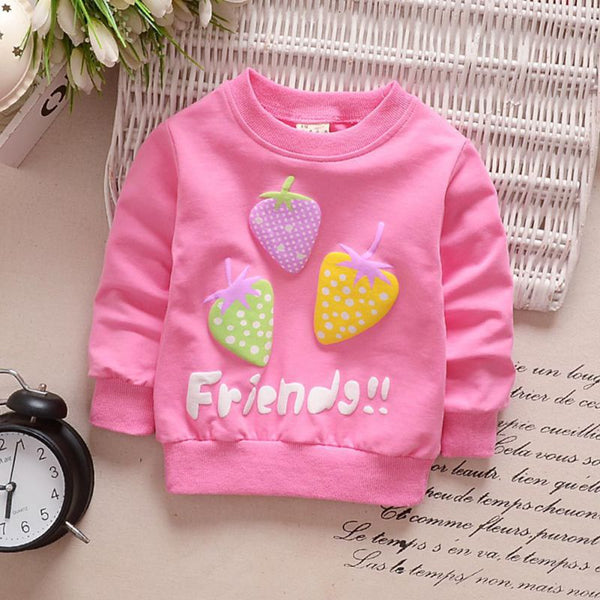 0-3Y Shirts Kids Girls Autumn Winter Cute Strawberry Sweatshirts Cotton Hoodies Baby Toddler Long