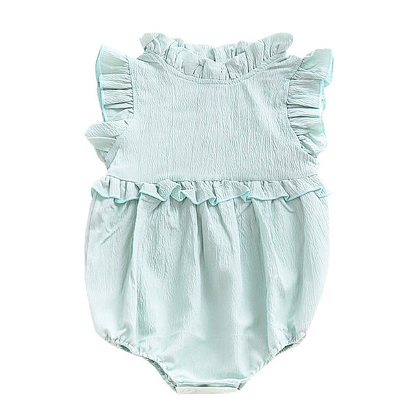0-3years New Babys Cotton Linen Romper Summer Ruffles Sleeveless Baby Jumpsuit Toddler Bobo Bebe Kids Children Clothes Infants