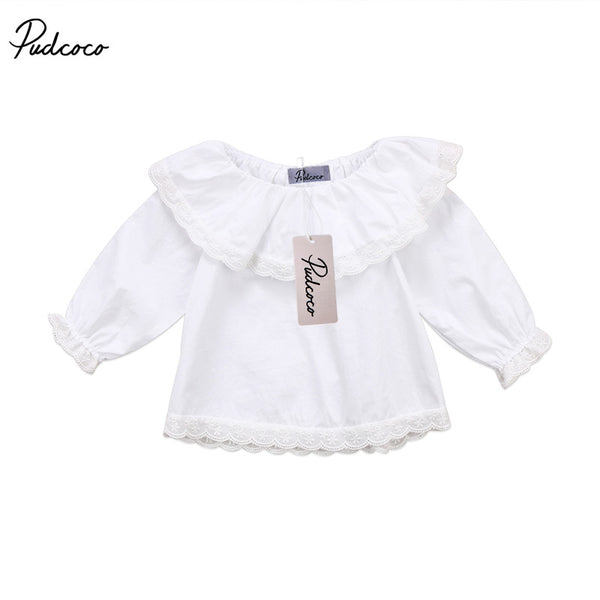 0 to 24M New Style Newborn Baby Girls Clothes Long Sleeve Lace Off Shoulder Tops T-shirts Outfits