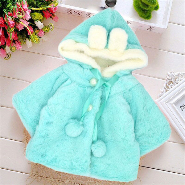 Baby Girl Winter Flannel Coat with Hat Hooded