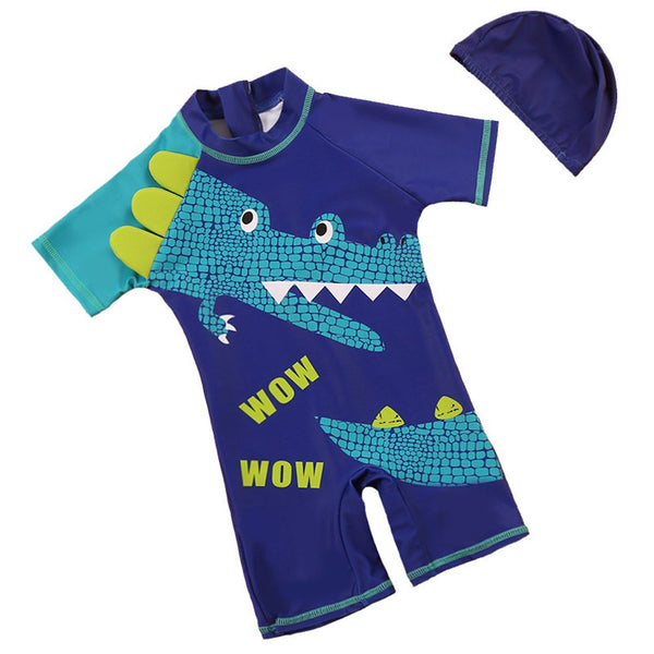 1-2T Children Swimwear Boy Cartoon Animal Shape Swimwear With Hat Boy Swimwear Rashguard Set