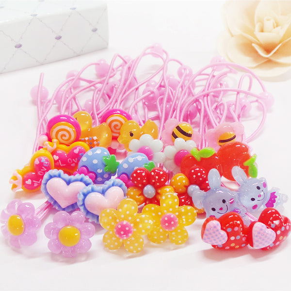 1 Pack of 10 Children's Rubber Band Cartoon Multicoloured Headwear Rope Kid Girls Fashion Elastic String Resin Hair Band