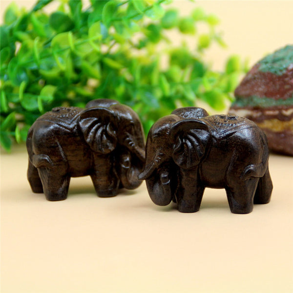 1 Pair 6CM Wood Elephant Animal Miniature Fairy Garden Home Houses Decoration Craft Micro Landscaping Decor DIY Accessories P0.2
