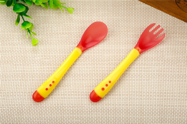 1 Set Baby Temperature Sensing Spoon and Fork, Safety Silicone Feeding Flatware Baby Feeder Utensils Feeding Spoon Tableware