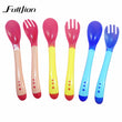 1 pc 2015 New Safety Temperature Sensing Spoon Baby Flatware Feeding Spoon Baby Kids Weaning Silicone Head Tableware