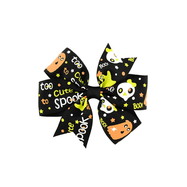1 piece Boutique Halloween Hair Bow with Clips for Kids Hair Pumpkin Hair Bow Halloween Hair Accessories 638