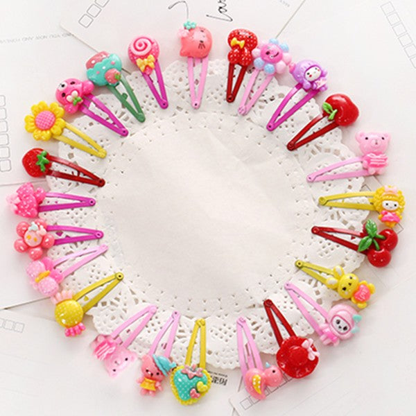 10 Pcs/lot Cartoon Beads Candy Color Hair Clips & Ropes Girls' Hair Ties Kids BB Hairpin Accessories PC047