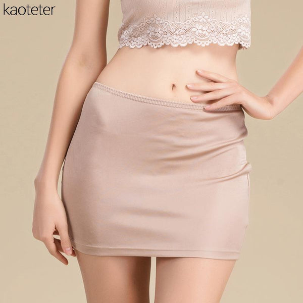 100% Pure Knit Silk High Quality Women Half Slips Simple Thin Sexy Elastic Waist Slim Underwear Breathable Slip 3 Colors