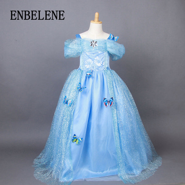 100% cotton girls cinderella princess dress costume children snow white blue kids floor length evening gown party wedding FE287