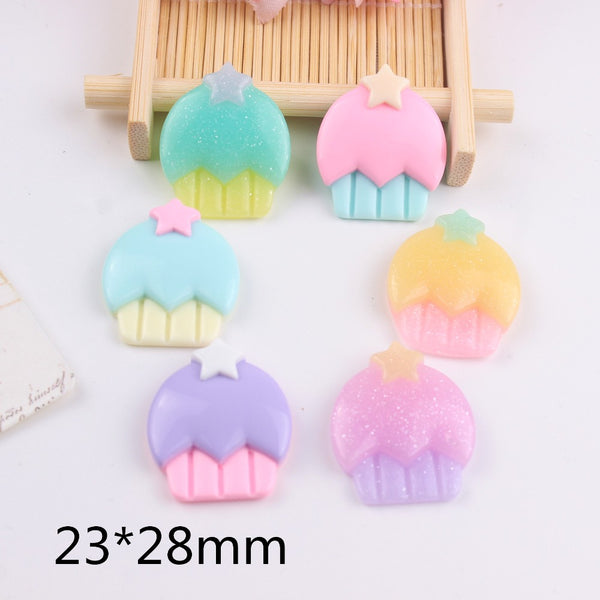 10pcs/lot kawaii resin cabochons flat back resin cake with star mix colors