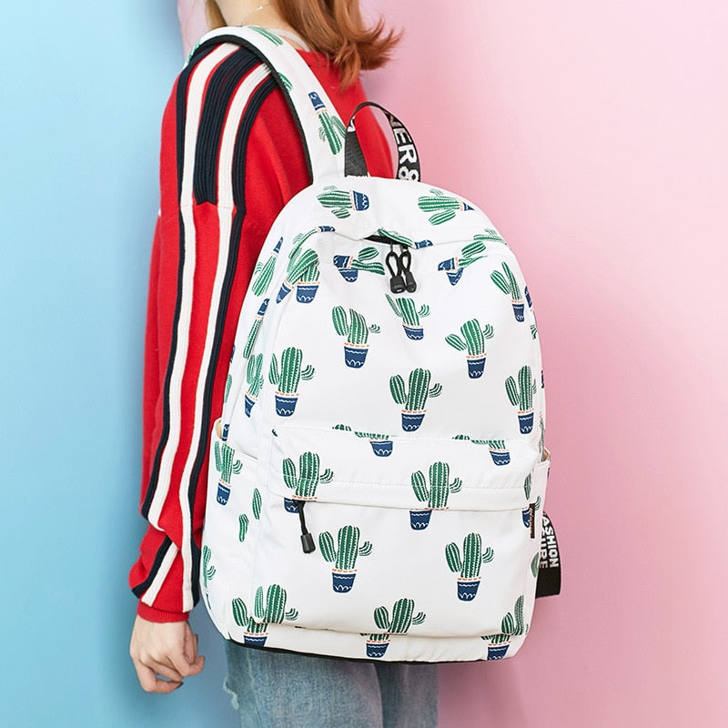 14-15.6 Inch Laptop Backpack Women Waterproof Cute Cactus Printing Book Bag  Female School Bagpack for Teens Girls – Beal   Daily Deals For Moms 2a010967e3
