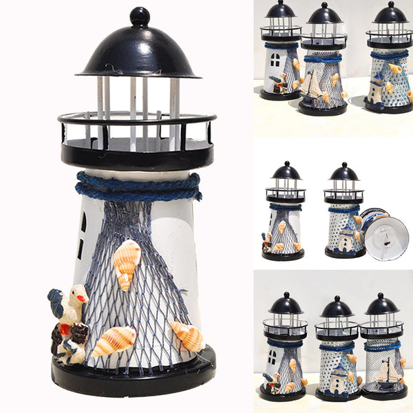 14cm Lighthouse Candlestick Home Desk Lighthouse Iron Candle Holder Nautical Beach Anchor Decoration Wedding Display Candlestick