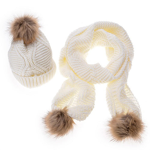 170cm geometric design scarf and hat sets winter warm long scarves for women girls fur pompom Beanies Hat knitted crochet scarf