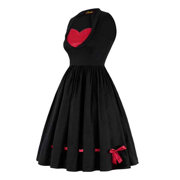 1950s vintage dress women lace-up bowknot color block sleeveless mid-calf female elegant