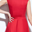 1950s vintage dress women summer sleeveless red a-line bow solid polyester elegant