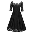 1950s vintage dresses women a line lace hollow out mid calf o neck three quarter sleeves