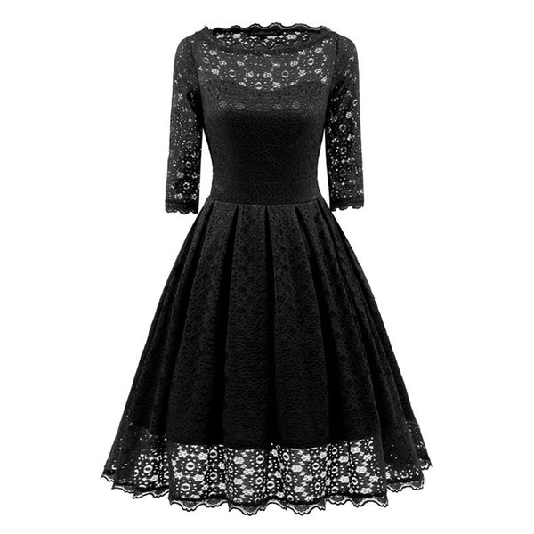 1950s vintage dresses women lace print o neck hollow a line three-quarter sleeve elegant
