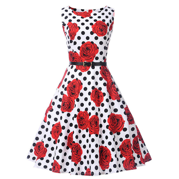 1950s vintage dresses women summer floral print a line o neck sleeveless mid-calf dresses