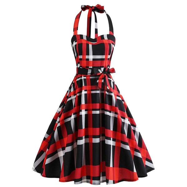 1950s vintage women sleeveless plaid dress halter bowknot strapless slim waist party