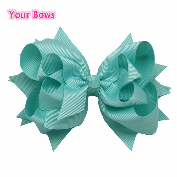1PC 2016 5Inches Hair Bows 3 Layer Solid Aqua Blue Boutique Ribbon Bows Hair Clips Girls Hairpin Cute Kids Bows Hair Accessories
