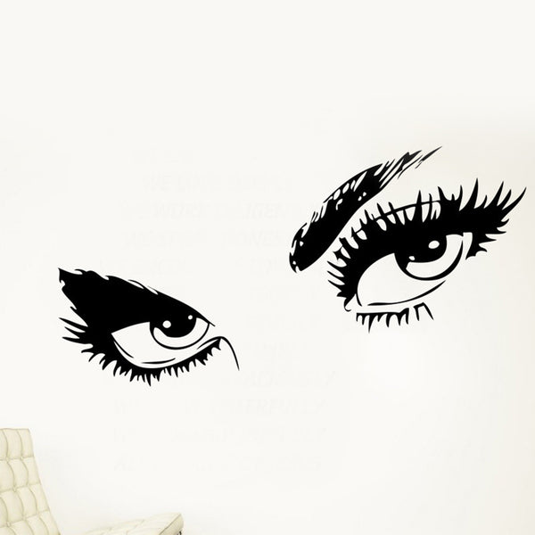 1PC Hot DIY Black Sexy Eyes Wall Art sticker Removab Lady Eyes Lashes Decal Home Decor