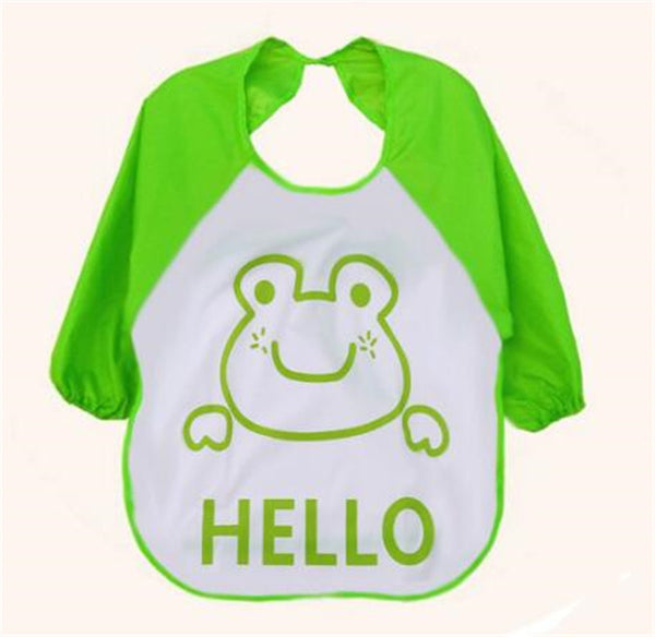 1Pc Kids Child Cartoon Feeding Bib Soft Waterproof Bibs Baby Long Sleeve Smock Apron
