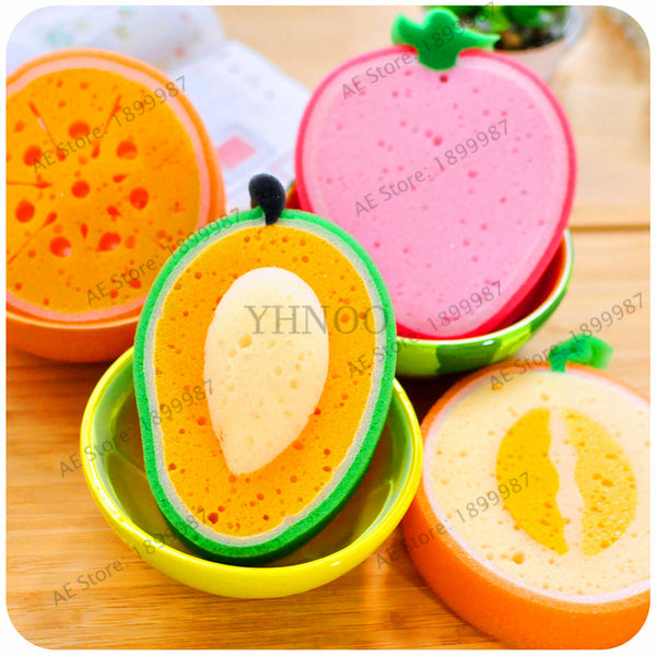 1Pcs multiple color Fruit Bath cotton bath Sponges fruit Bath Ball Brushes bathroom kitchen