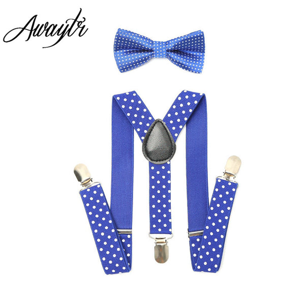 1Set  Suspenders Braces  Kids Bow tie Adjustable Boys Girls 3 Clip-on Y Back Elastic Dot Children