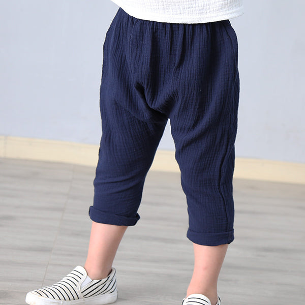 2-7 yrs linen pleated kids pants Hot 2018 summer girls boys pants children ankle-length pants