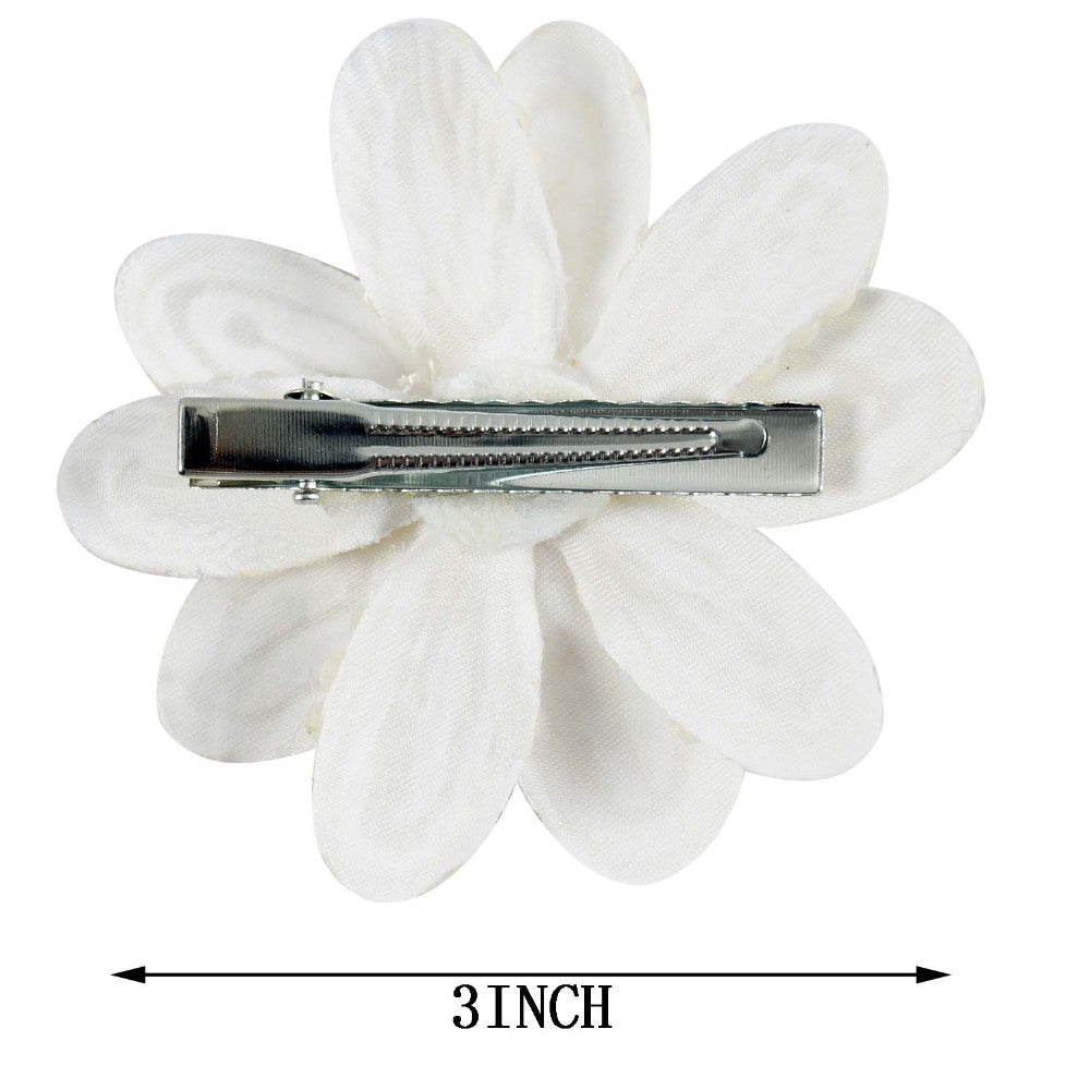 """2 Pcs//lot 3.5/"""" White Bow For Girl Kids Cute Pearls Hair Bow With Alligator Hair"""